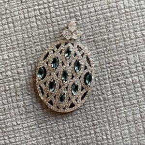 Blue topaz and CZ gorgeous pendant